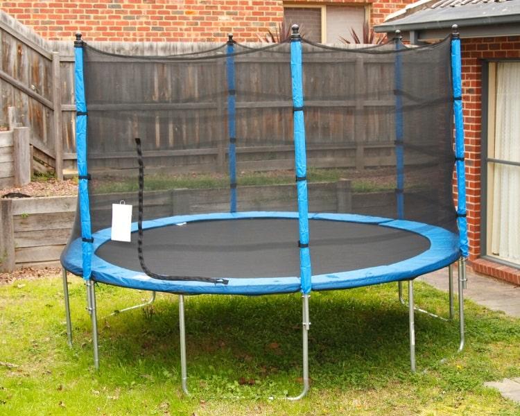 Round trampoline in the backyard