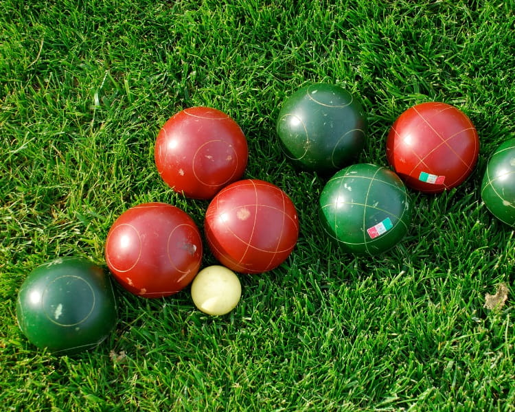 Bocce ball set on grass surface