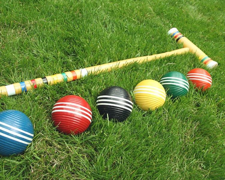Croquet mallet and balls
