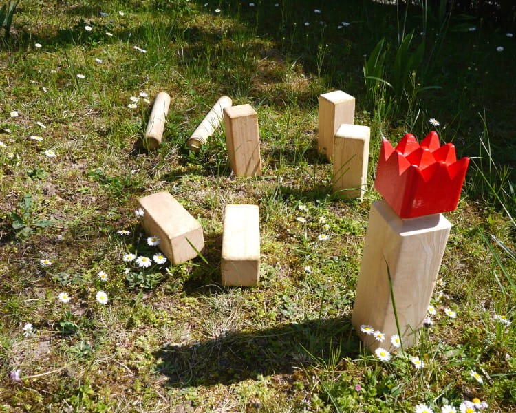 Kubb set in the yard