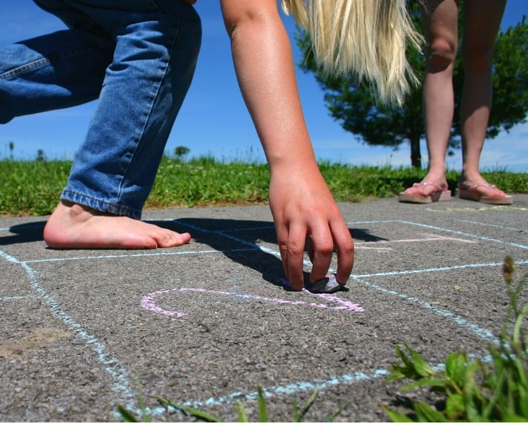 Creating the hopscotch grid with chalk