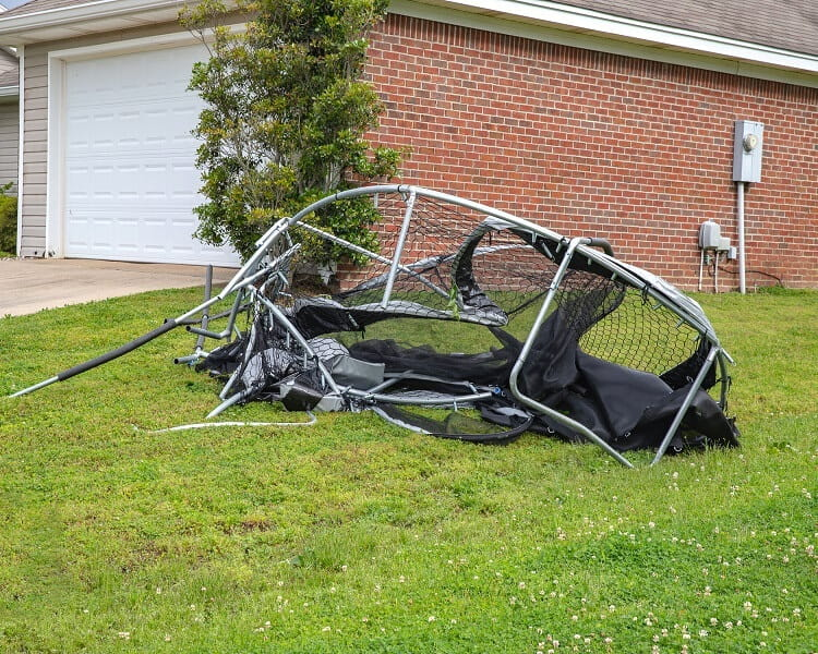 Wind damaged trampoline