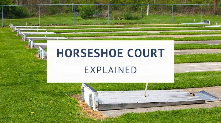 Horseshoe court and pit dimensions (size and stake distance)