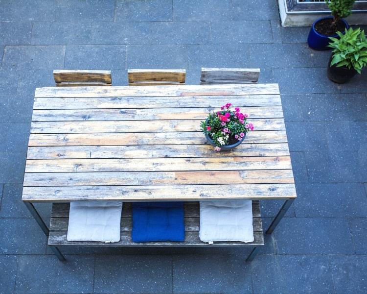 Backyard dining space